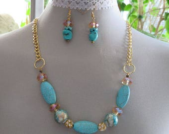 Turquoise and Gold 2 piece Jewellry set