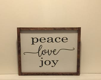 Peace Love Joy Wood Sign|Farmhouse Peace Love Joy Sign|Gallery Framed Wood| Sign|Joy Wood Sign|Love Wood Sign|Peace Wood Sign|Farmhouse Sign