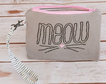 kitty hand embroidered zipper pouch / meow / gray and pink