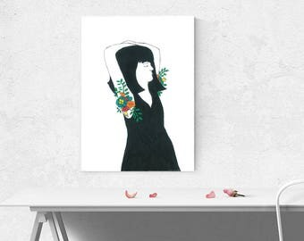 Printable Illustration Art Feminist Feminine Woman Portrait With Flowers