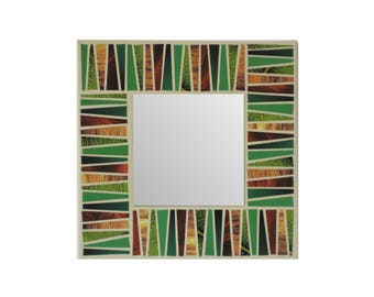 "Decorative green mirror mosaic 7.8"" canvas original mixed media art hand made square wall hanging upcycled magazine paper geometric collage."