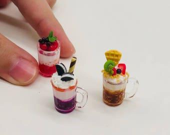 3 pieces Miniature Beverage,Miniature ceramic cup,Miniature Coffee,Dollhouse Halloween,Miniature Fruit Juice