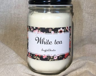 White tea scented all natural soy candle