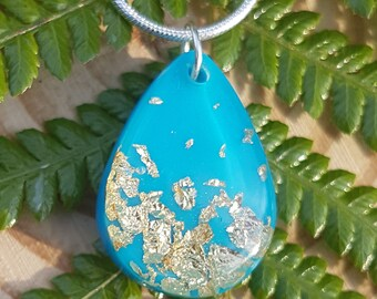 Turquoise Teardrop Pendant Necklace, Gold Leaf Resin Necklace
