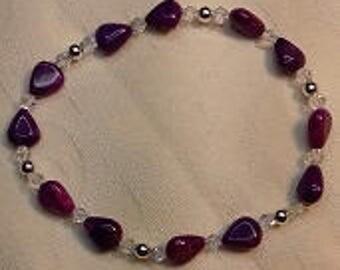 B17017 Purple Agate Elasticated Bracelet