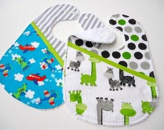 Baby boy bibs-Chenille baby bibs-Boy airplanes bib-Baby giraffe bib-Bibs for boys-Baby feeding bibs-Baby boy gift