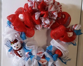 Holiday Wreath - Teal, Red & White