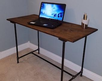 Rustic solid wood top pipe desk