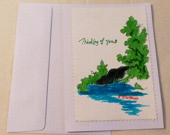 Handmade Greeting Card, Hand painted All Occasion Greeting Cards, Trees Greeting Cards, Made in the USA, #36