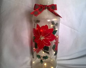 Decorated Wine Bottle filled with LED fairy lights