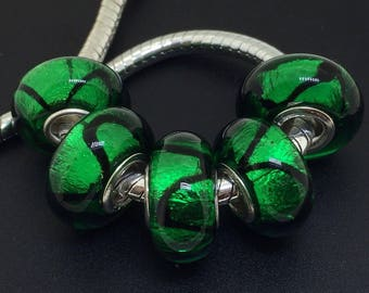 5 large hole lampwork green murano glass beads everyday minimalist rainbow beaded jewelry for adult