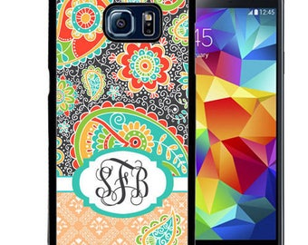 Monogrammed Rubber Case For Samsung Note 3, Note 4, Note 5, or Note 8- Dark Gray Teal Paisley
