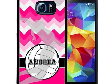 Personalize Rubber Case For Samsung Note 3, Note 4, Note 5, or Note 8- Pink Chevron Volleyball Sports