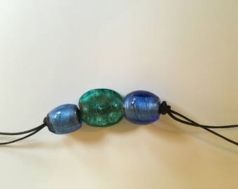 Indian glass necklace - green &blue