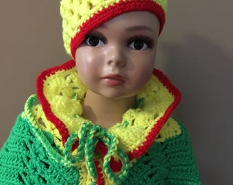 Poncho - HANDMADE - with the hat