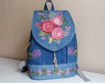 Denim Backpack Colors of Autumn
