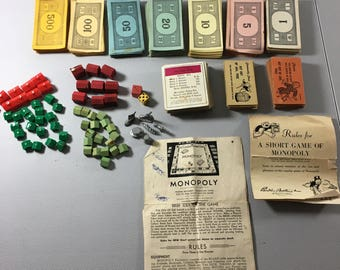 Vintage Monopoly Wood Plastic Houses Hotels Game Pieces Money Property Chance Community Chest Cards