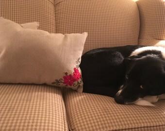 Homespun Pointsetta Christmas Pillows