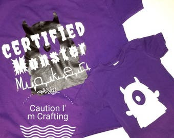 Halloween shirt, monster make, little monster, matching tshirt, mommy and me, daddy and me, family tshirts,