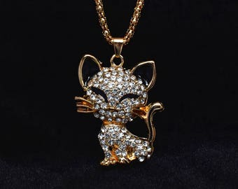 Gold Cat Necklace Gift, Cat Pendant Necklace, Cat Lover Gift for Her, Cat Jewelry, Personalized Gift, Animal Necklace, Rhinestone Necklace