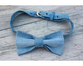 Blue old denim bow tie