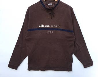 Ellesse Sweatshirt brown colour Big Logo Embroidery Sweat Medium Size Jumper Pullover Jacket Sweater Shirt Vintage 90's