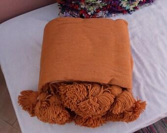 Moroccan blanket,pom pom orange blankets,bed spread,moroccan throw blanket,wool moroccan bedding,pom pom throw blanket,berber moroccan decor
