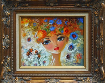 Whimsical young girl with honeybees (original 12x16 painting)