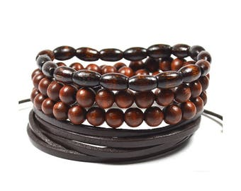 3 Pack Brown Wood And Leather Bracelet Set