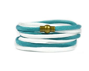 Multi Wrap Paracord in Teal and White Bracelet