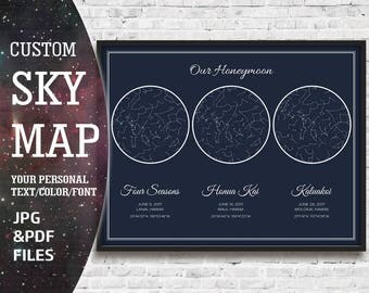 Personalized Night Sky, Star Chart Date, Personalized Star Map, Personalized Sky Map, Star Chart Personalized, Night Sky Print, Star Map Art