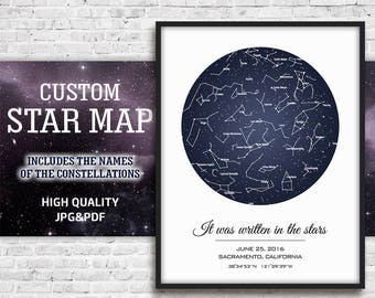 Personalized Star Map, Personalized Sky Print, Star Map Gift, Star Map Birthday, Star Map Poster, Sky Map Digital, Sky Map Art, Digital Gift