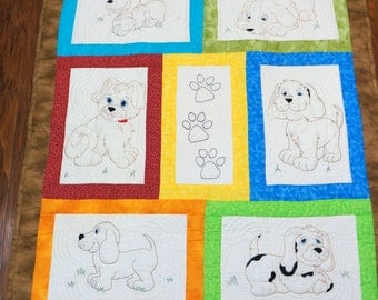 Hand Stitched Puppy Dog Baby Quilt Embroidery Patchwork Nursery Crib