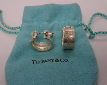 Tiffany & co. sterling Silver 1837 Hoop Earrings-www.previouslylovedtreasures.com