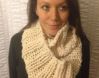 Cream Knit Infinity Scarf, Chunky Ribbed Cowl