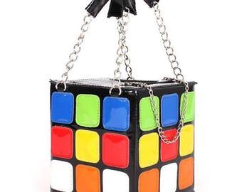 Faux leather retro rubix cube 3D handbag