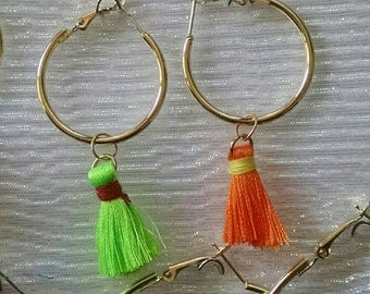 Tassel earrings-orange and green!
