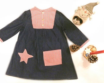 Denim girl dress Christmas dress, dress, chic, frilly dress, little girl denim dress Christmas dress, fancy dress