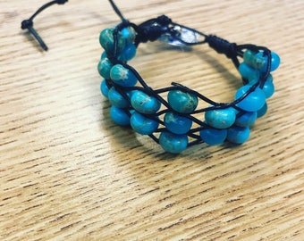 Braided Leather Wrap Braclet