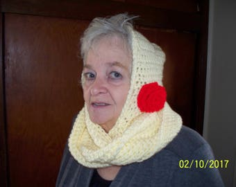 New Adult  Hooded Cowl Yellow With Large Red Accent Flower