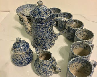 Blue and White Spatterware Spongeware Tea Set Complete with 6 Cups and Saucers and Cream Sugar