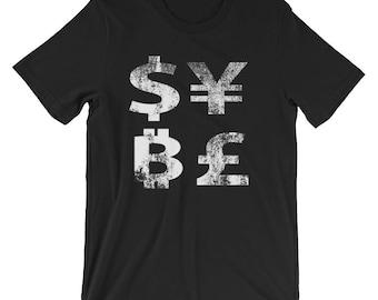 Bitcoin Shirt Vintage Distressed BTC Dollar Euro Yen Cryptocurrency Unisex T-Shirt