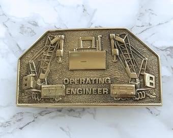 Vintage Men's Belt Buckle Operating Engineer Solid Brass 1978 Baron Buckle