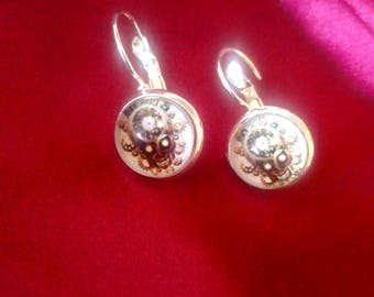 STEAMPUNK earrings, brown skull, silver plated backing, cosplay -  design E0005