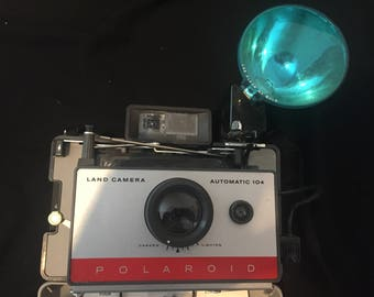 1960's Polaroid Automatic Land Camera 104 with Polaroid Flashgun 268