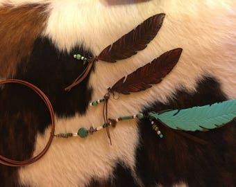 Custom Handmade Womens Leather Feather Necklace With Matching Earrings