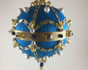 Blue beaded satin Christmas ornament