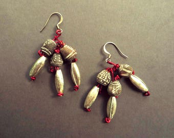 Earrings of Mexican Sterling Silver and Ecuadorean Ceramic Beads