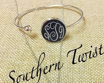 Silver Tone Open Cuff Monogrammed Bracelet