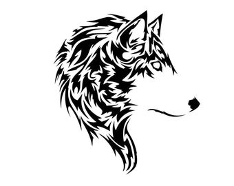 TrIbal Wolf head animal Graphics SVG dxf eps png cdr ai pdf Vector art Clipart instant download Digital Cut Print files